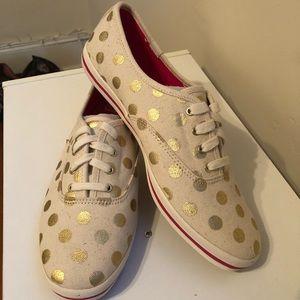 kate spade x keds gold polka dots - never worn